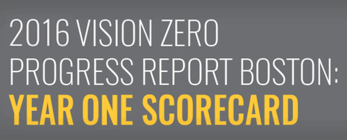 The top of the 2016 Vision Zero Progress Report: Boston