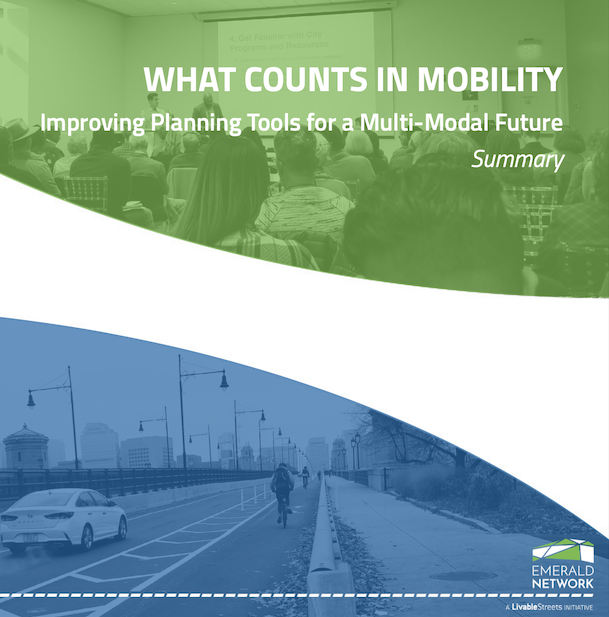 The cover of the UEP summary report, with a photo of a public meeting in a green wash and a photo of a car and a cyclist crossing the Longwood Bridge in a blue wash.