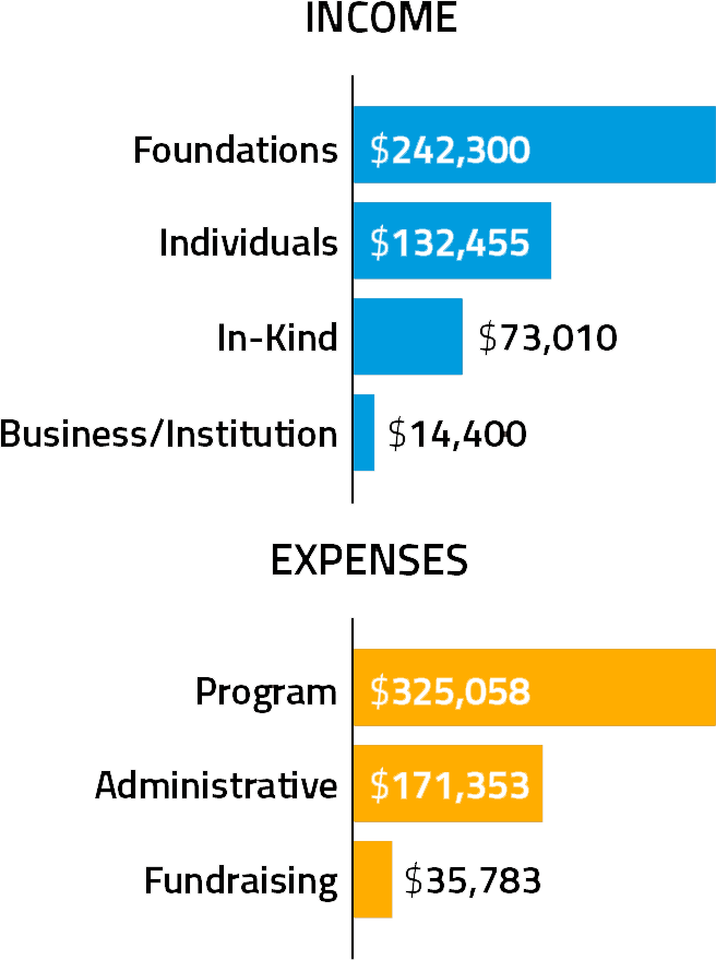 Two bar graphs showing LivableStreets' 2017 Income and Expenses. Income: Foundations, $242,300; Individuals, $132,455; In-Kind, $73,010; Business/Institution, $14,400. Expenses: Program, $325,058; Administrative, $171,353; Fundraising, $35,783.