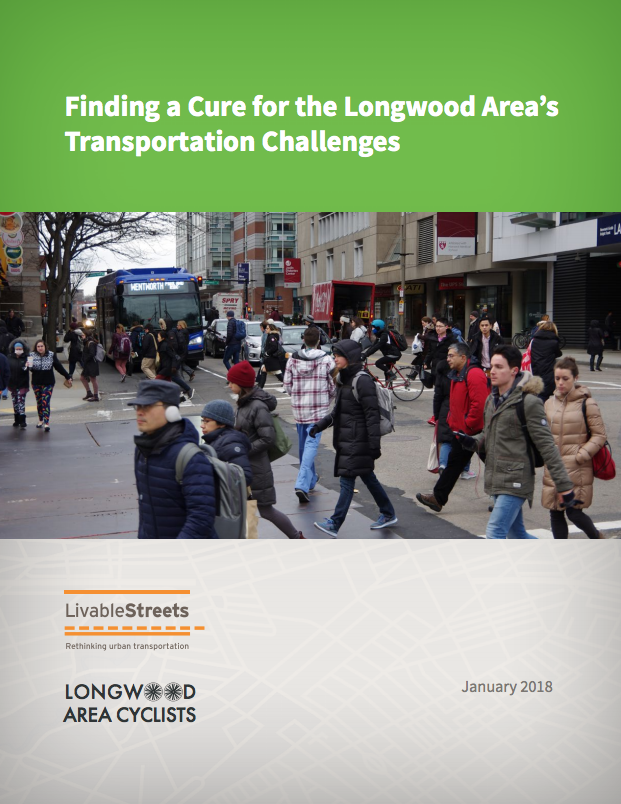 The front page of the Finding A Cure report; the title is on top, white text on a green background, and below is a photograph of a large crowd people walking across a street in the Longwood Medical area. Click to open the report.