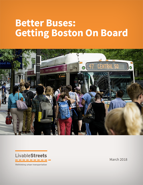 The front page of the Finding A Cure report; the title is on top, white text on an orange background. Below is a photograph of a crowd of people waiting to board the 47 bus to Central Square. Click to open the report.