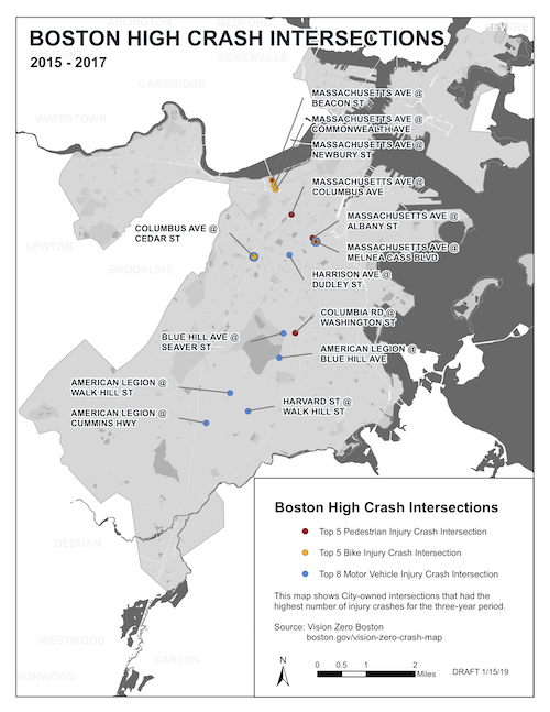 A map of the high-crash intersections in Boston.
