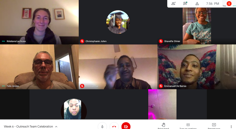 A screenshot of a zoom meeting with Street Ambassadors and Kristiana Lachiusa, LivableStreets director of transit and outreach.