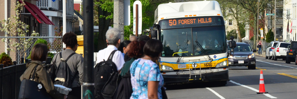 A crowd of people stand on the sidewalk and look at the 50 bus to Forest Hills that is pulling up to the stop. There is a temporary bus-bike only lane separated from the travel lane with orange cones.