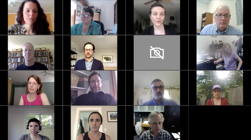 A grid of fifteen people participating in a virtual call