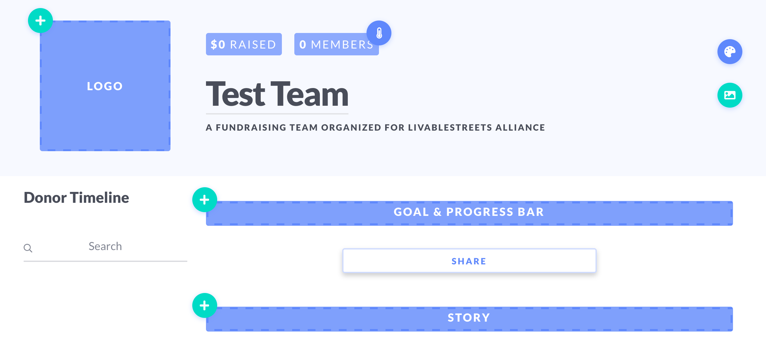 a screenshot of the customizable Team page