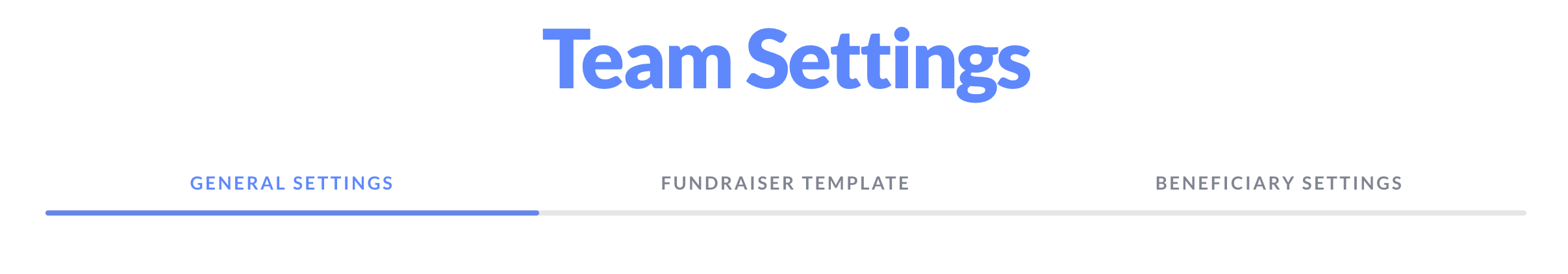 A screenshot of the Team Settings header, with \