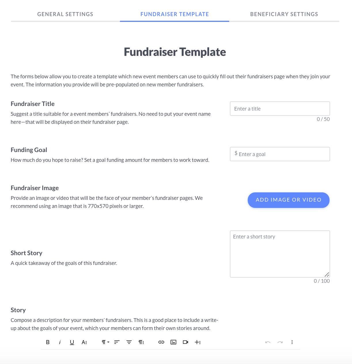 A screenshot of the Fundraiser template page