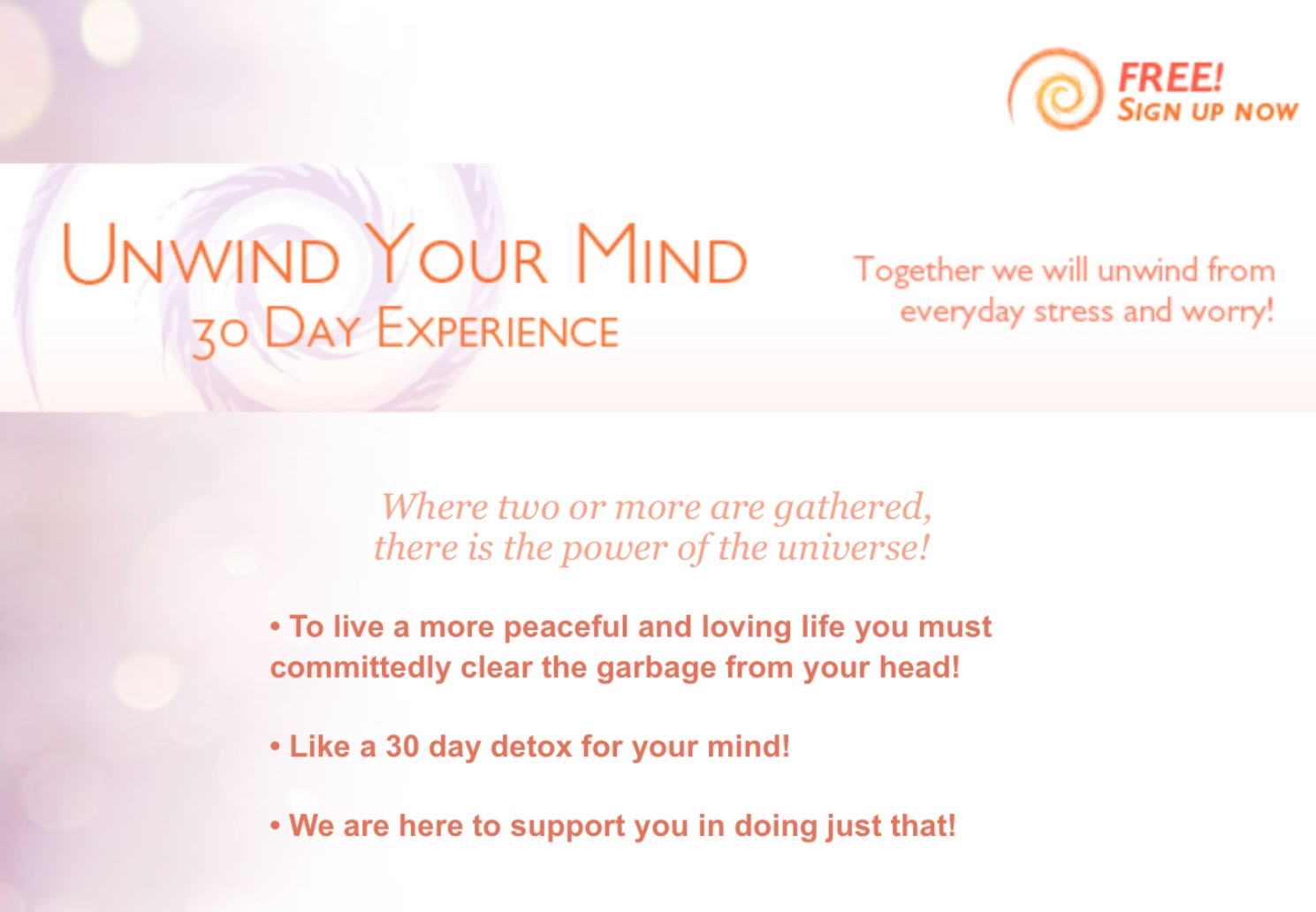 Unwind Your Mind 30 Day Experience