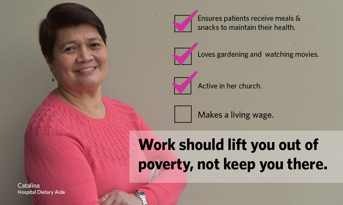 middle aged filipino woman with arms crossed looking into the camera with text: A living wage would mean I would feel more secure. Work should lift you out of poverty, not keep you in it