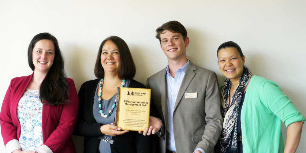 PARC Community Living staff receive Living Wage Employer plaque