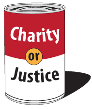 soup can that reads charity or justice