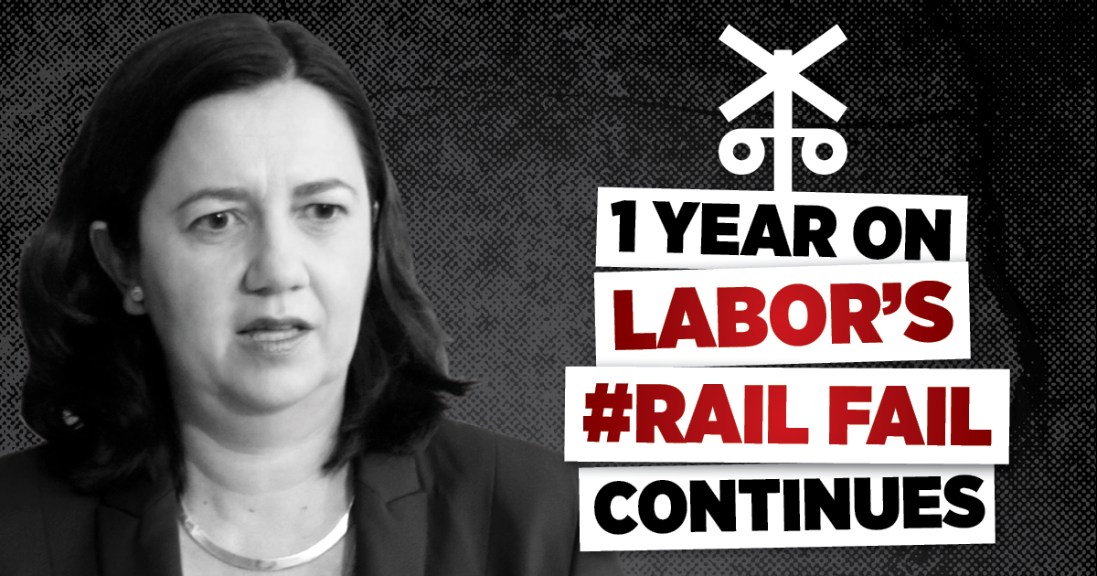 LNP marks first anniversary of Labor's rail fail Image