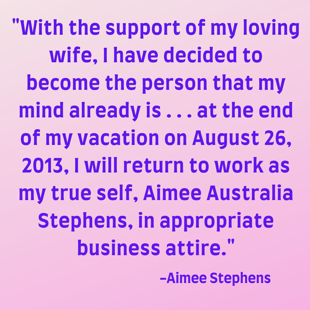 Aimee Stephens Coming Out Letter