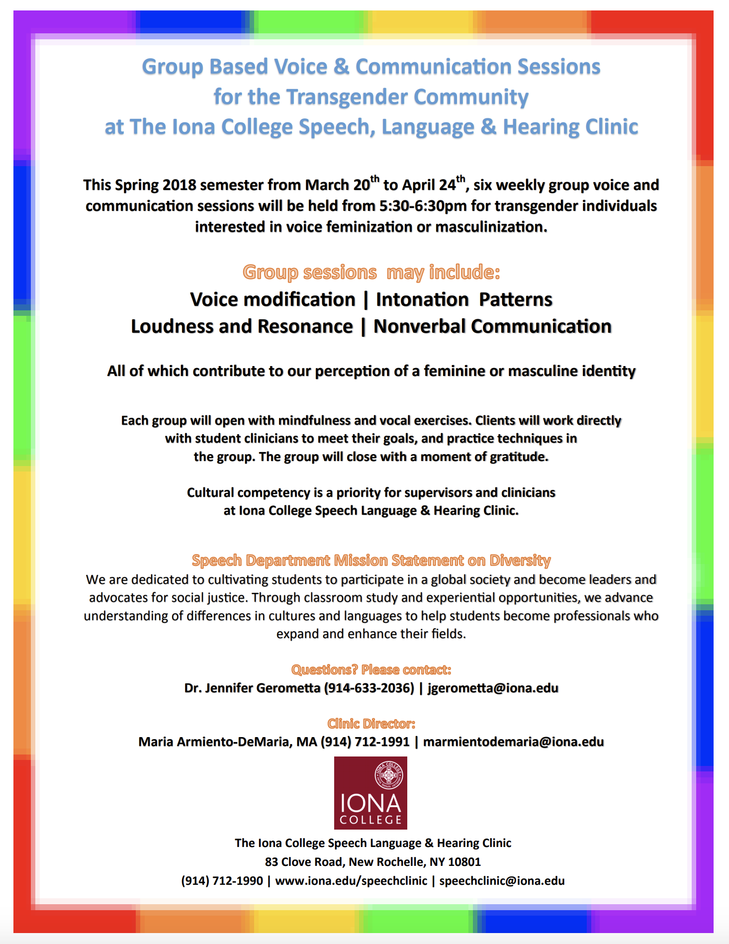Transgender Voice & Communication Sessions at Iona College