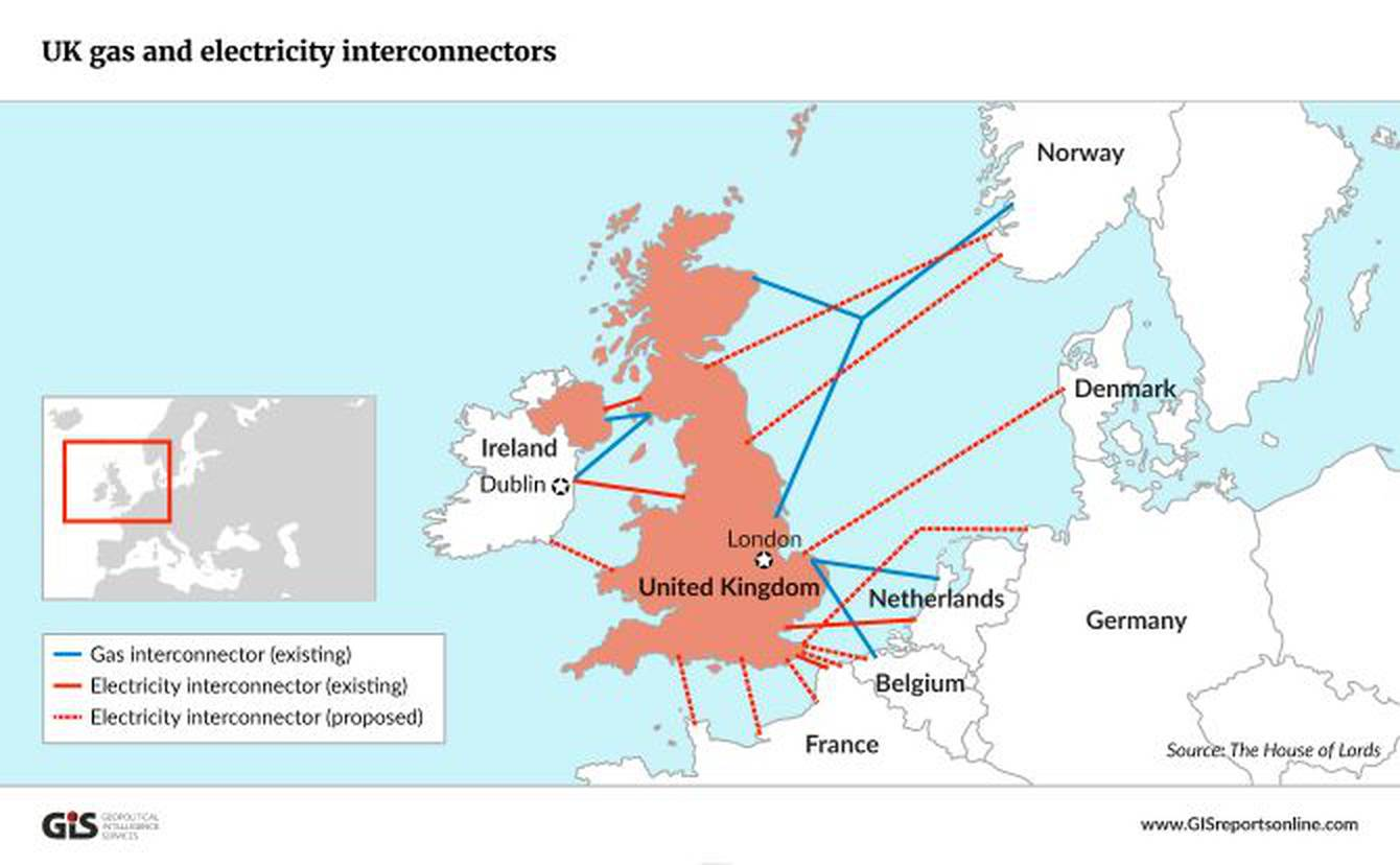 Fig 1 Map of Interconnectors serving the UK. Source: Reference 3