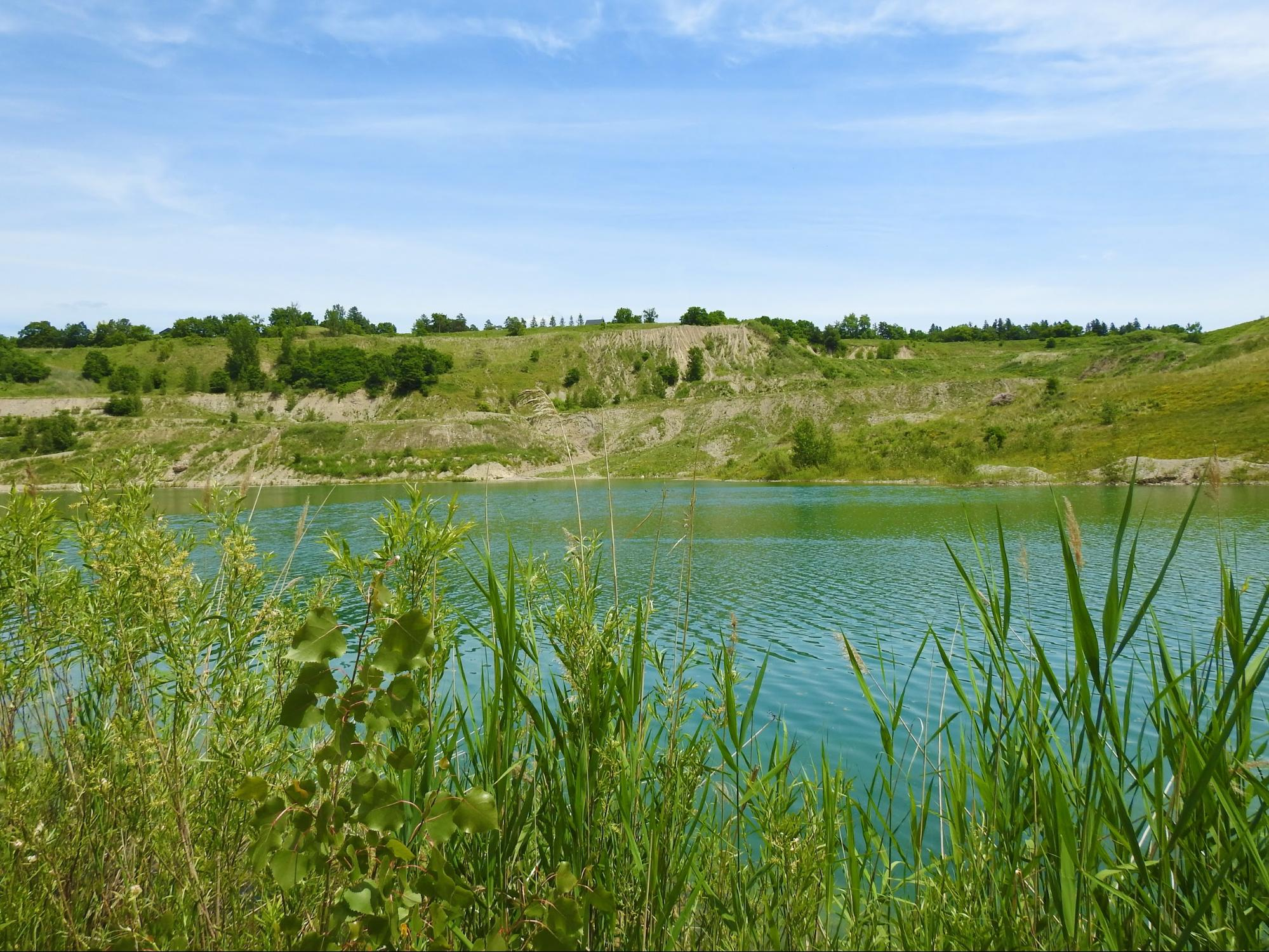The limestone quarry at the Byron gravel pit.
