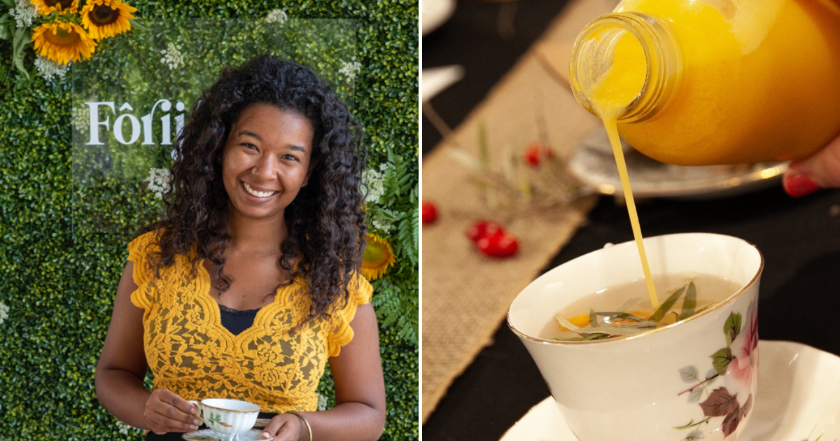 Left: Katelyn Landry (founder), Right: a sea buckthorn juice is poured into a tea.