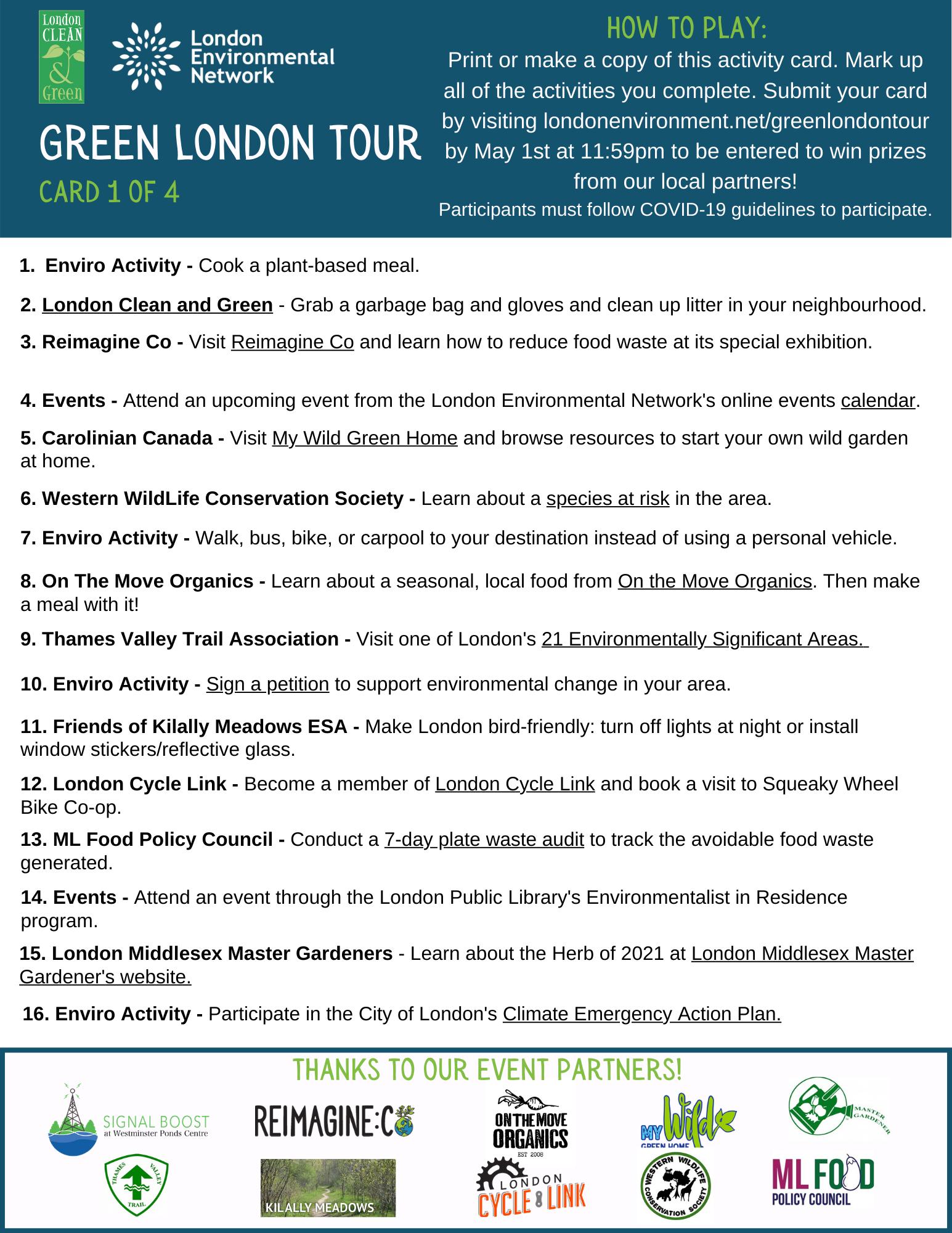 Green London Tour List 1