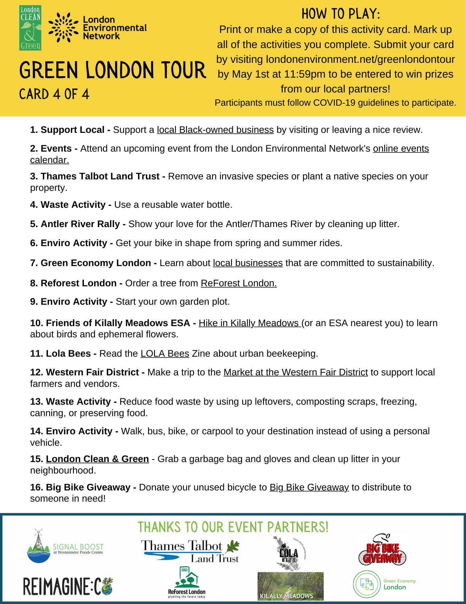 Green London Tour List 4