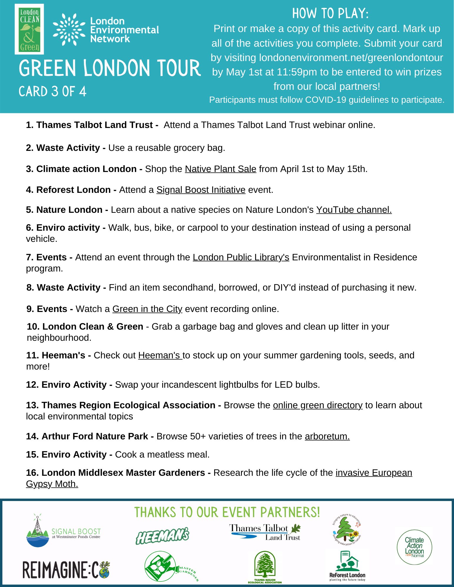 Green London Tour List 3