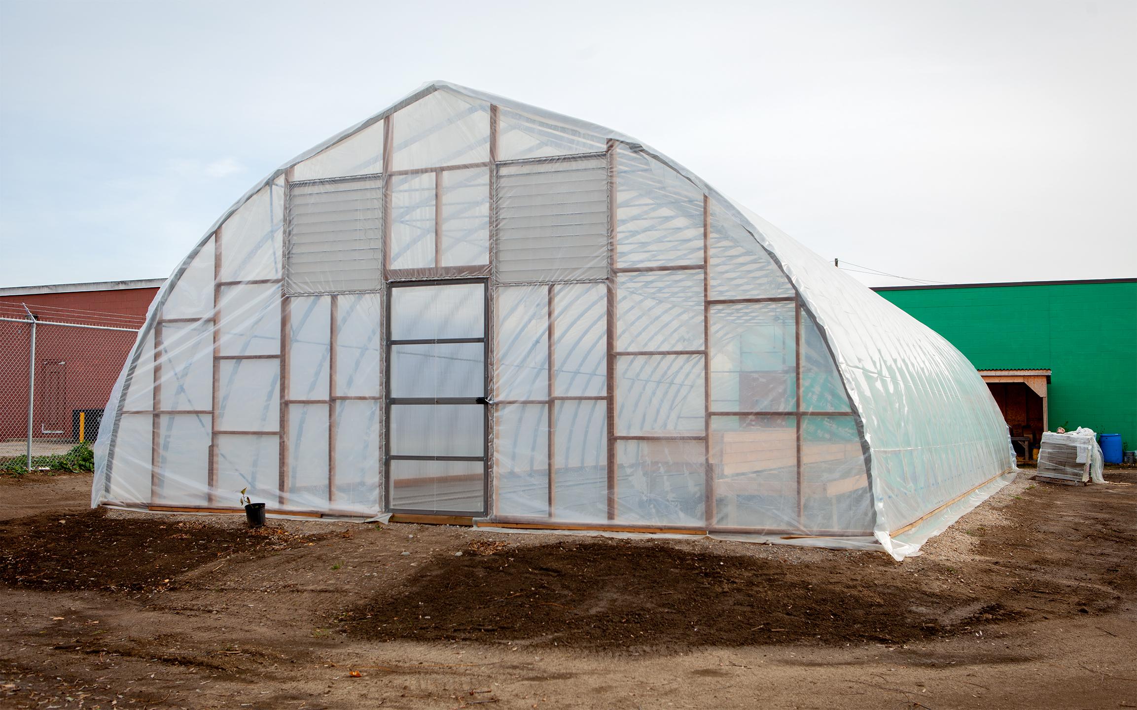 Newly built hoop house