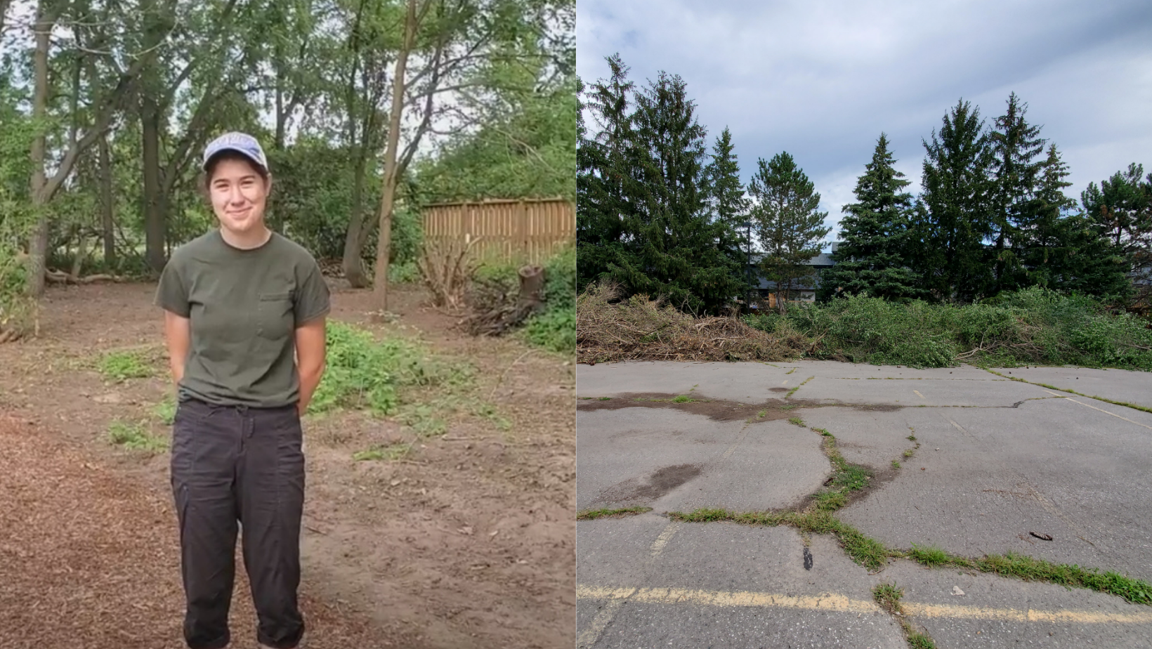 On left: Hannah Dieleman standing in the cleared-out area at Urban Roots Siloam United Church Location. On right: The giant pile of removed species and matted wood.