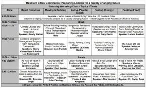 Resilient Cities Schedule