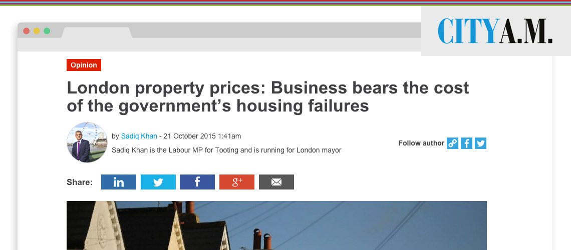 The housing crisis is not just pushing Londoners into poverty – it's bad for our economy and business.