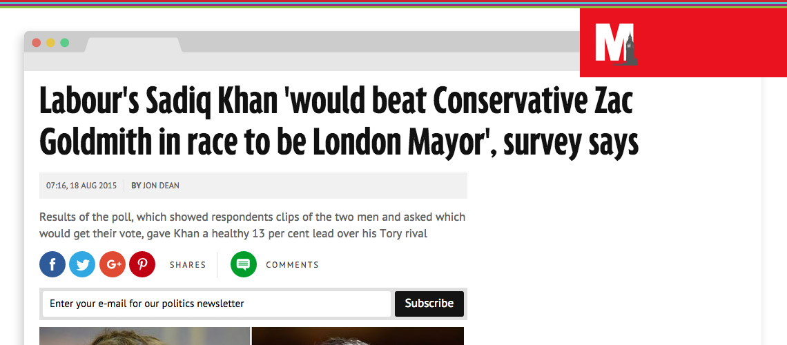 New poll gives Sadiq Khan 13 per cent lead over Mayoral rival Zac Goldsmith