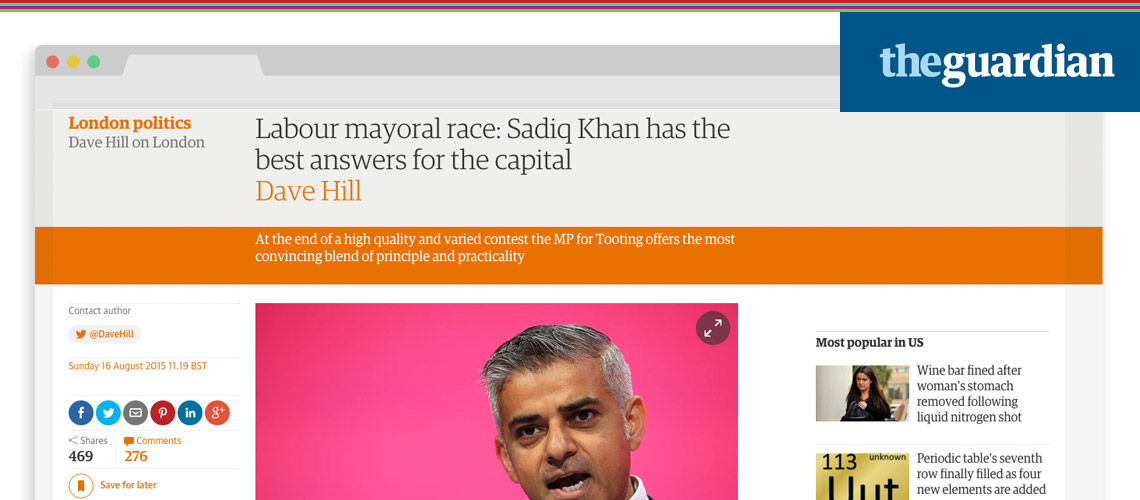Guardian's Dave Hill endorses Sadiq Khan to become Labour's candidate for Mayor of London