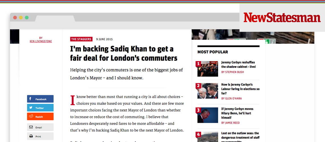 Ken Livingstone Backs Sadiq for Mayor