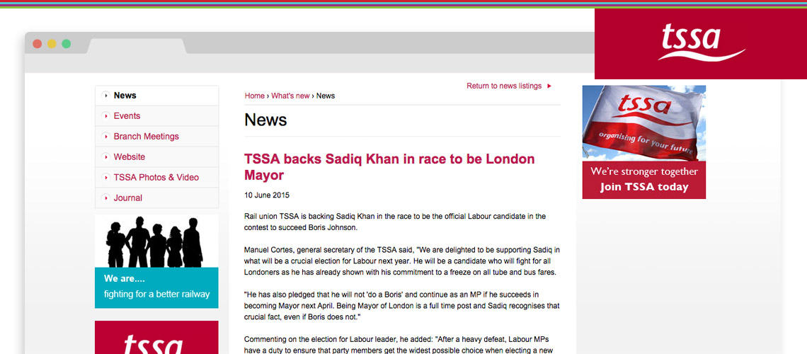TSSA backs Sadiq Khan in race to be London Mayor