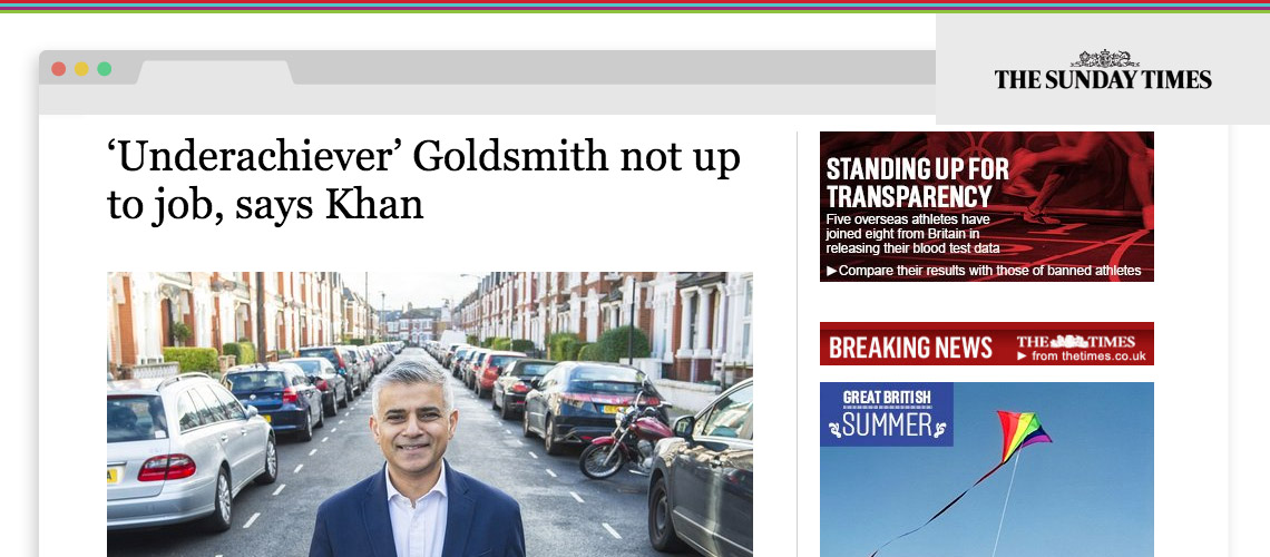 'Underachiever' Goldsmith not up to job, says Khan
