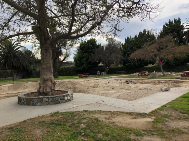 """The playground south of Bellevue Ave has been removed. It is unclear if this is what was meant by """"Replacement of playground surfacing at the north playground"""" in the board report outlining the scheduled construction at Echo Park and if it was a typo or this is other construction which has been instigated."""