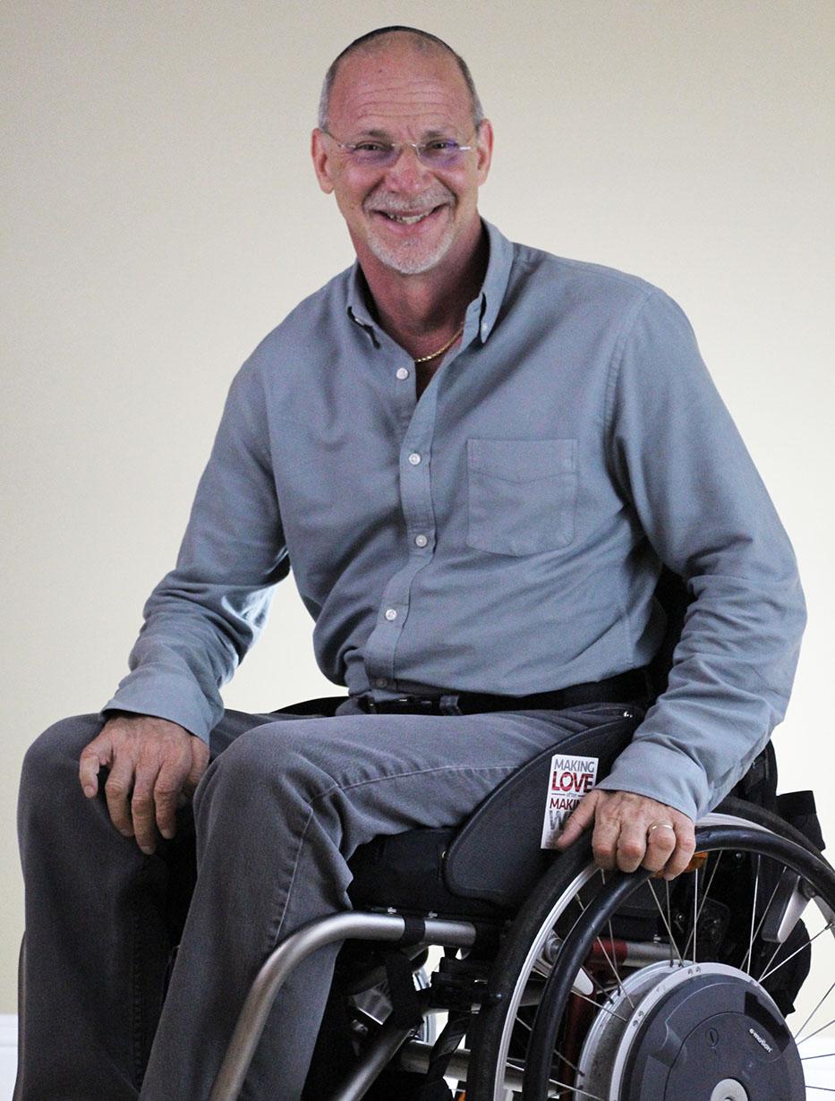 Dr Tepper in manual wheelchair