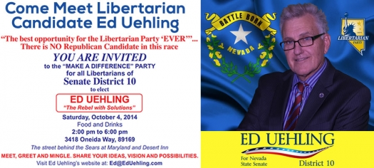 "You are Invited to Ed Uehling's ""Make a Difference"" Party - Support Libertarian Senate District 10 Candidate"