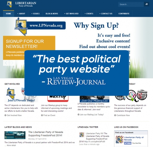 "Review-Journal Says The Libertarian Party of Nevada has ""The best political party website."""