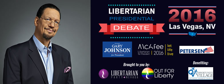 Penn Jillette hosts the Libertarian presidential debate