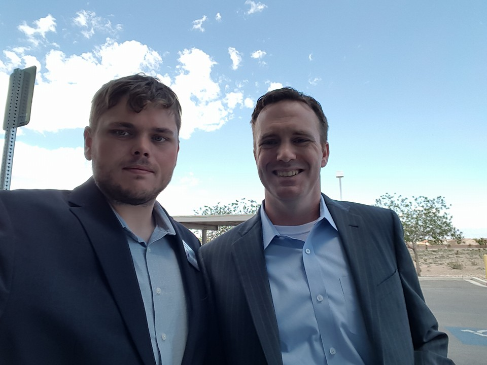 Millennial Caucus leader Andrew Lea with presidential candidate Kevin McCormick. Photo by Andrew Lea.