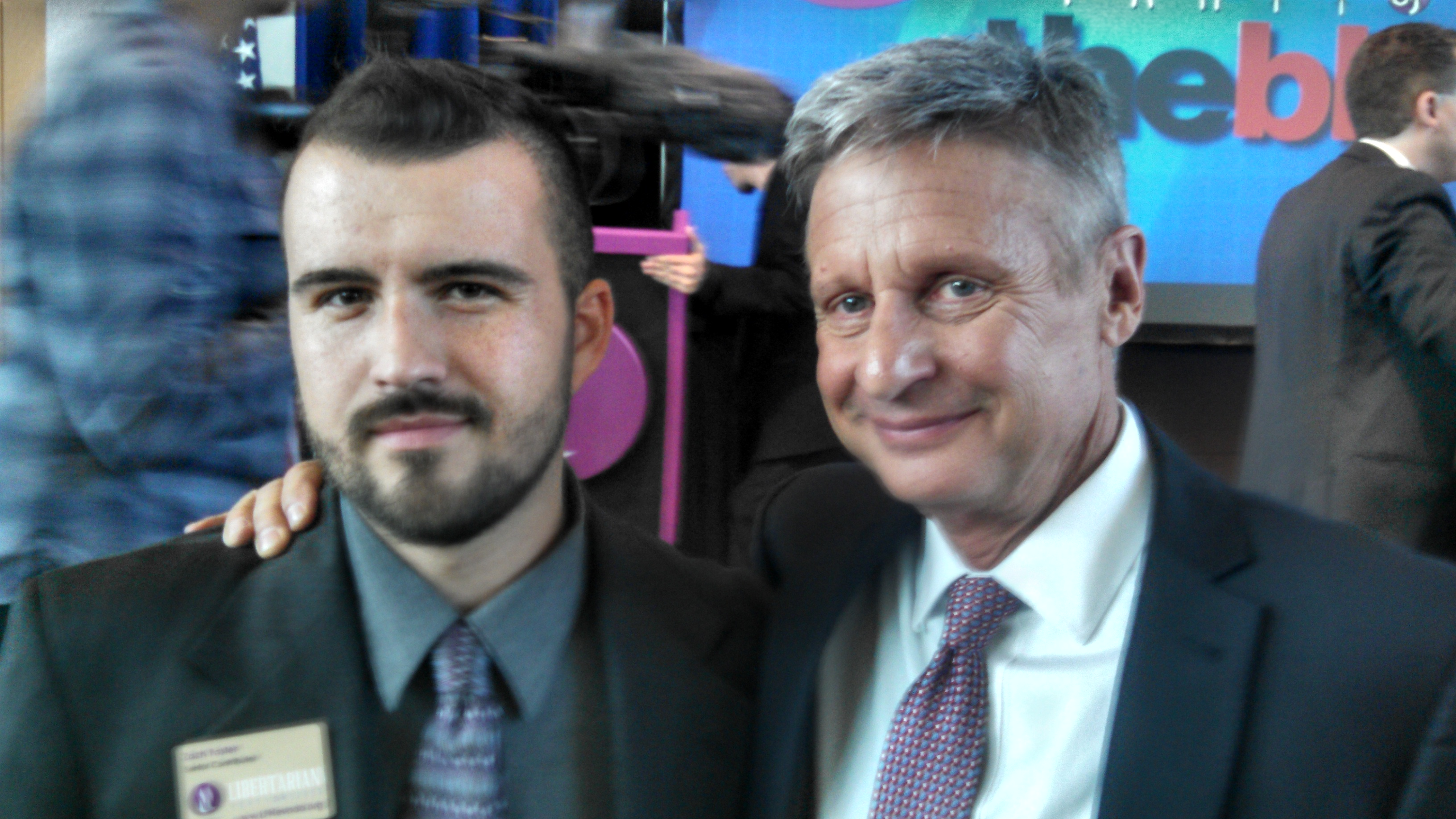LP Nevada Senior Contributor Zach Foster with Governor Gary Johnson. Photo by Zach Foster.