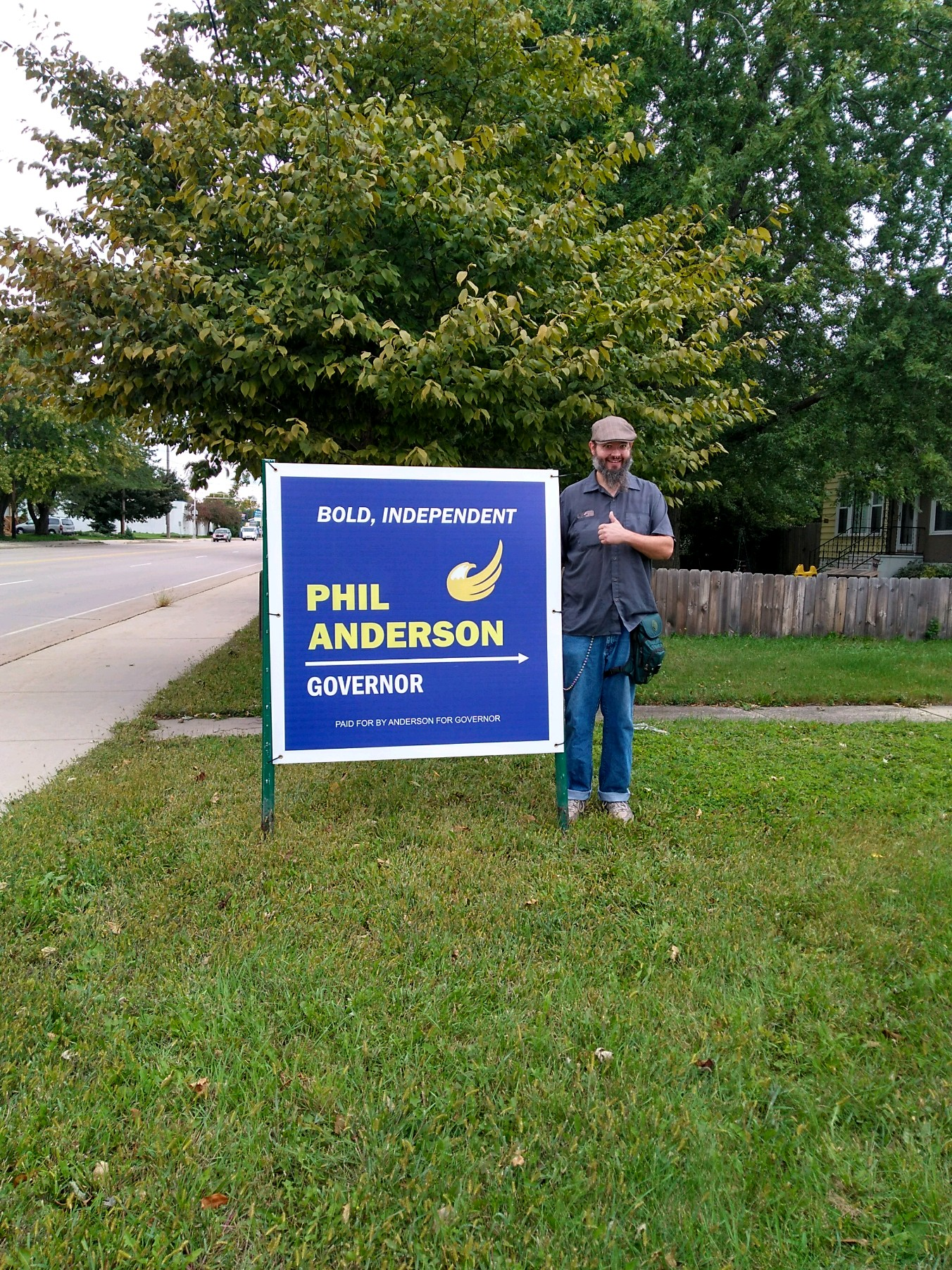 A Phil Anderson campaign sign in Neenah