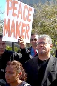 Luis J. Rodriguez at the June 30 Press Conference following the denial of bail for Alex Sanchez.