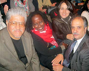 Left to right: Luis J. Rodriguez, Opal Palmer Adisa of the Virgin Islands, Muesser Yeniay of Turkey, and Sergio Iagulli of Italy.