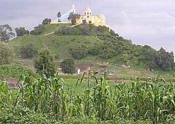 The Great Pyramid, viewed from the south, the Church of Nuestra Señora de los Remedios on top. Photo: Wikipedia.