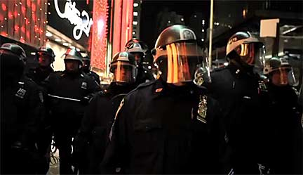 Riot police take control of the streets as they surround New York's Liberty Square Occupy Wall Street encampment on Nov. 15, 2011. Still from video footage shot by Rebecca Davis and Julia Xanthos, and posted to the NYDailyNews YouTube channel: www.youtube.com/user/nydailynews