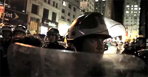 NYPD riot squad surrounds Liberty Square on Nov. 15, 2011. Still from video footage shot by Rebecca Davis and Julia Xanthos.