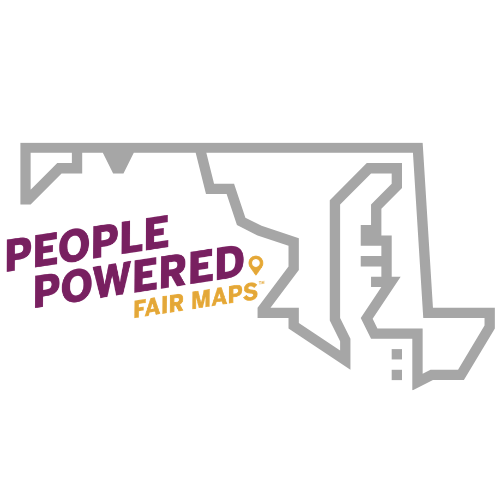People Powered Fair Maps Logo - Outline of Maryland