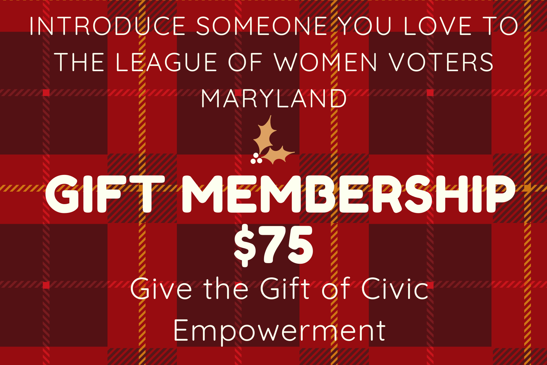 Red holiday plaid gift membership
