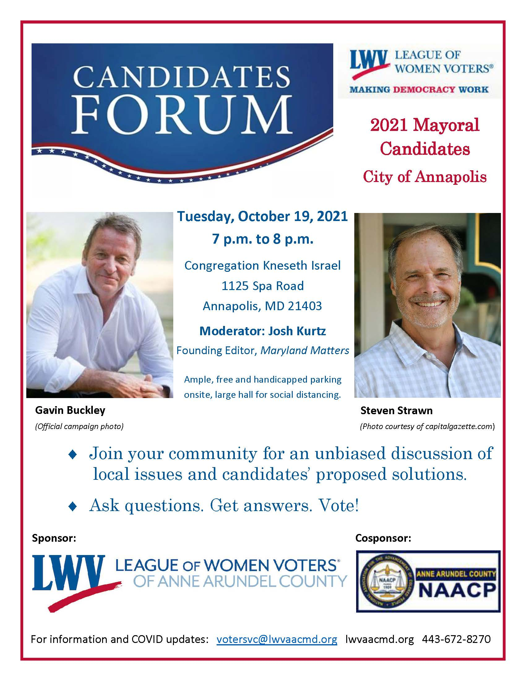 flyer for LWVAAC sponsored candidate forum with photos of Annapolis mayoral candidates Gavin Buckley and Steven Strawn to be held 10/19/21 at Kneseth Israael